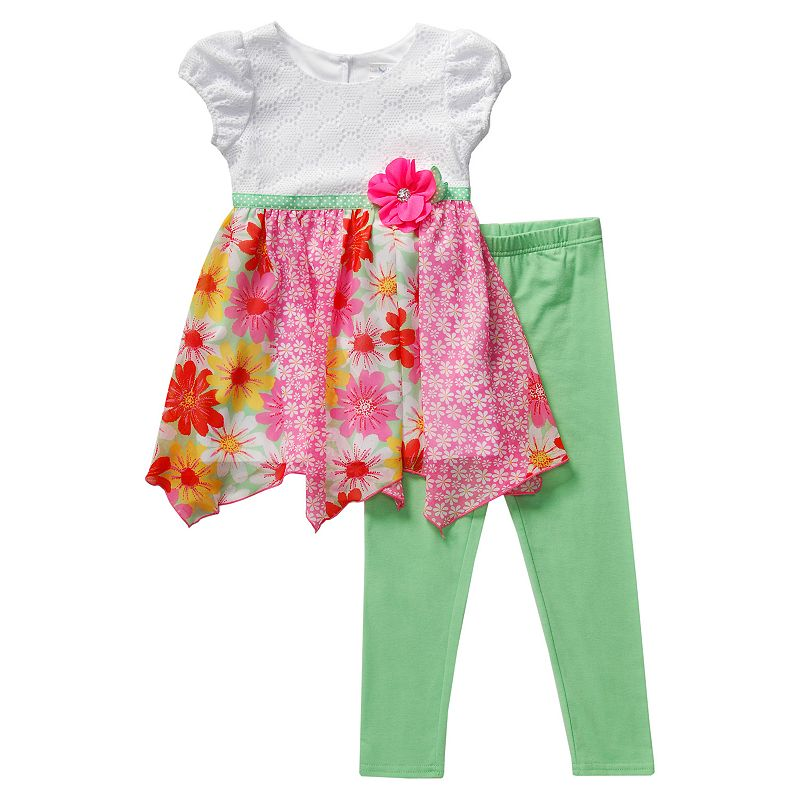 Girls 4-6x Youngland Crochet Knit Floral Tunic & Leggings Set
