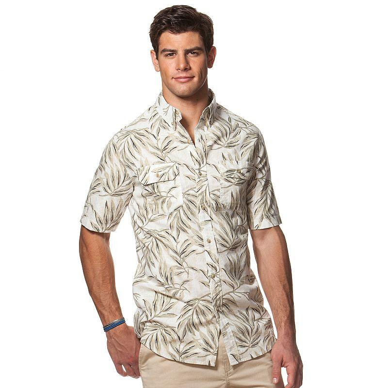 Men's Chaps Classic-Fit Crosshatch Fern Button-Down Shirt