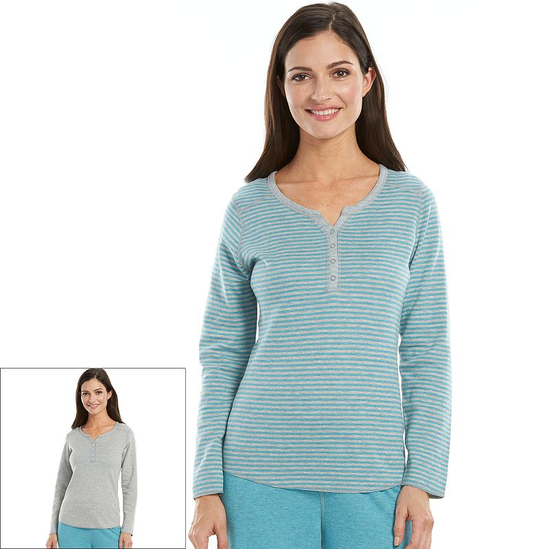 Women's Jaclyn Inc Pajamas: Reversible Henley Pajama Top