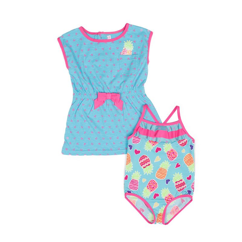 Baby Girl Wippette Pineapple Swimsuit & Heart Cover-up