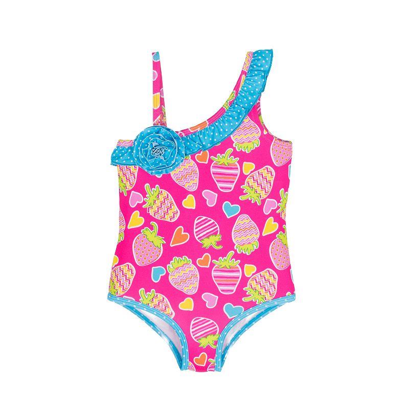 Girls 4-6x Pink Platinum Strawberry Print One-Piece Swimsuit
