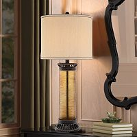 Catalina 3-Way 34'' Amber Etched Glass Table Lamp