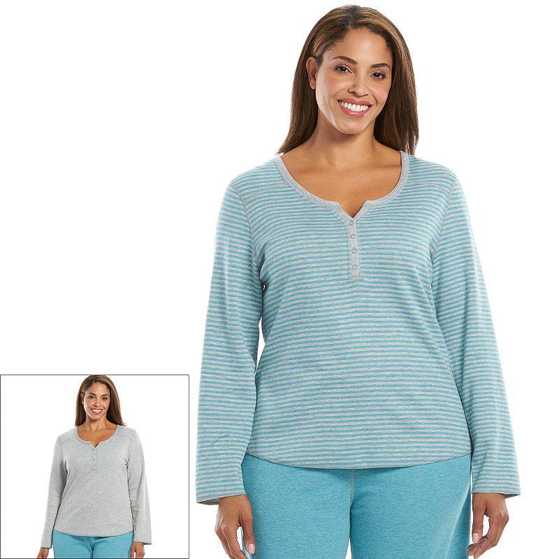 Plus Size Jaclyn Inc Pajamas: Reversible Pajama Henley Top
