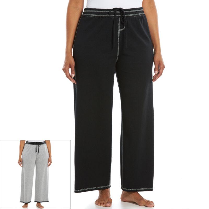 Plus Size Jaclyn Intimates Pajamas: Reversible Pajama Pants, Women's, Size: 1X, Black