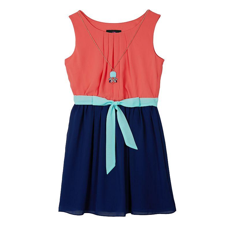 Girls' Plus Size IZ Amy Byer Pintuck Colorblock Dress