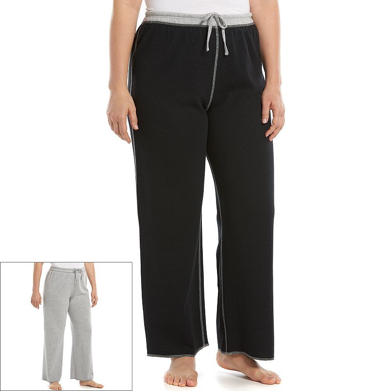 Plus Size Jaclyn Inc Pajamas: Solid Reversible Pajama Pants