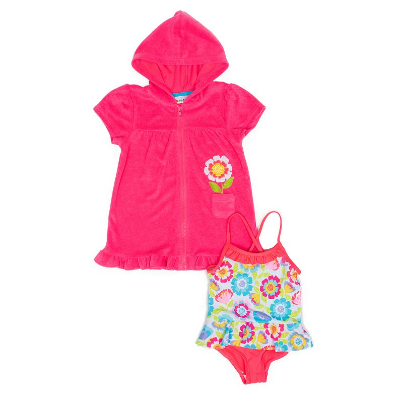 Toddler Girl Wippette Flower One-Piece Swimsuit & Cover-Up Set