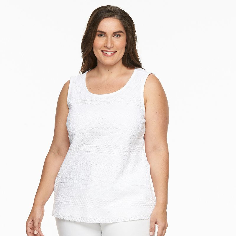 Plus Size Croft & Barrow® Lace-Front Scoopneck Tank