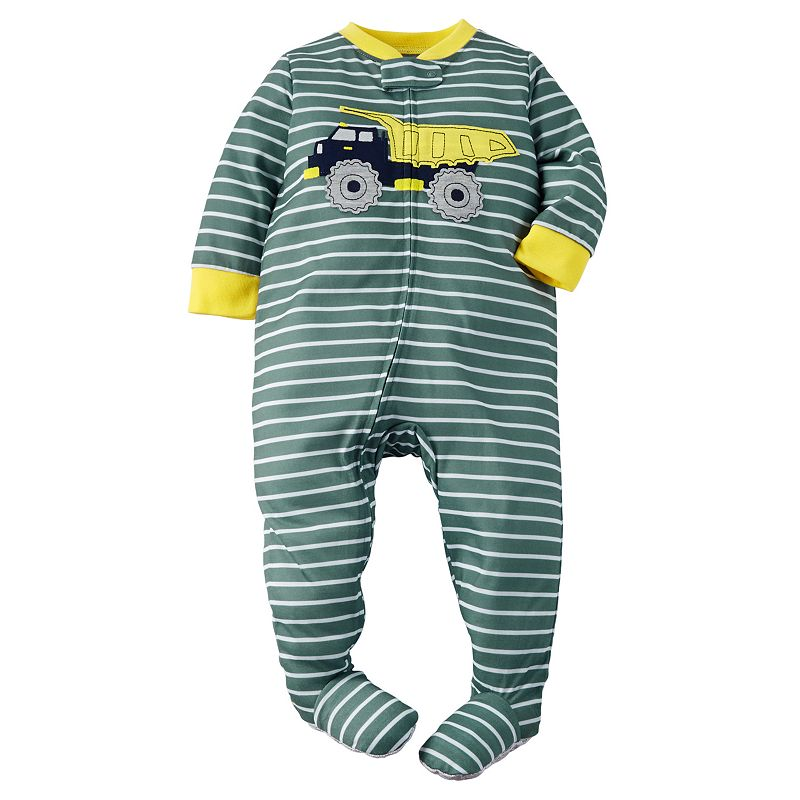 Toddler Boy Carter's Striped Dump Truck Footed Pajamas