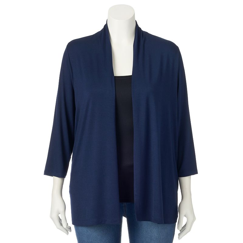 Plus Size Croft & Barrow® Open-Front Cardigan