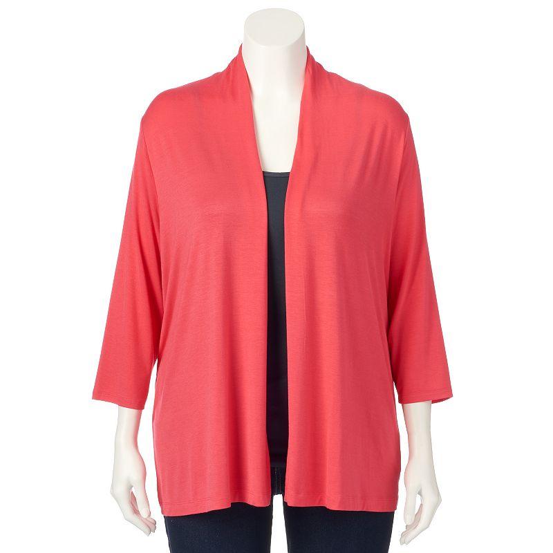 Plus Size Croft & Barrow® Open-Front Cardigan
