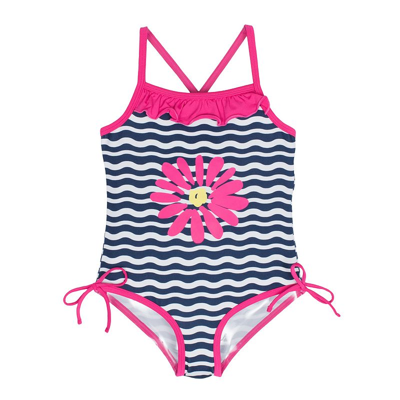Toddler Girl Pink Platinum Striped One-Piece Swimsuit