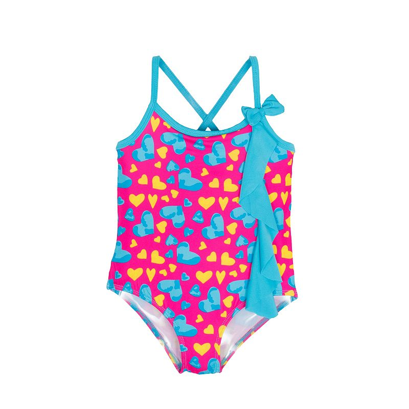 Toddler Girl Pink Platinum Heart Print One-Piece Swimsuit