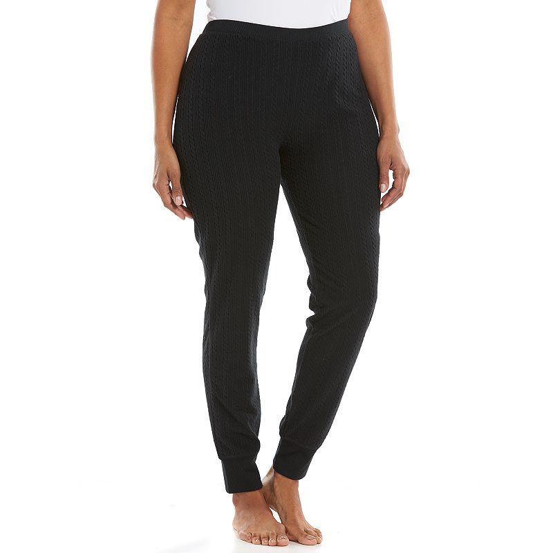 Plus Size Jaclyn Inc Pajamas: SuperSpan Textured Fleece Sleep Leggings