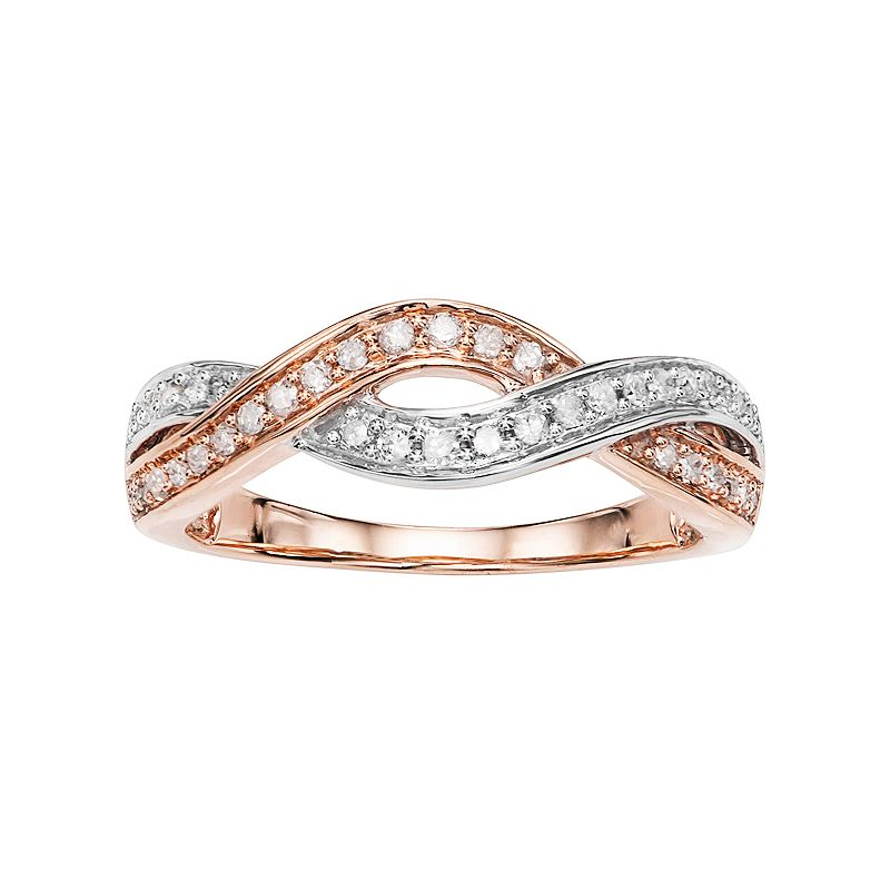 Two Tone 10k Rose Gold 1/4 Carat T.W. Diamond Crisscross Ring