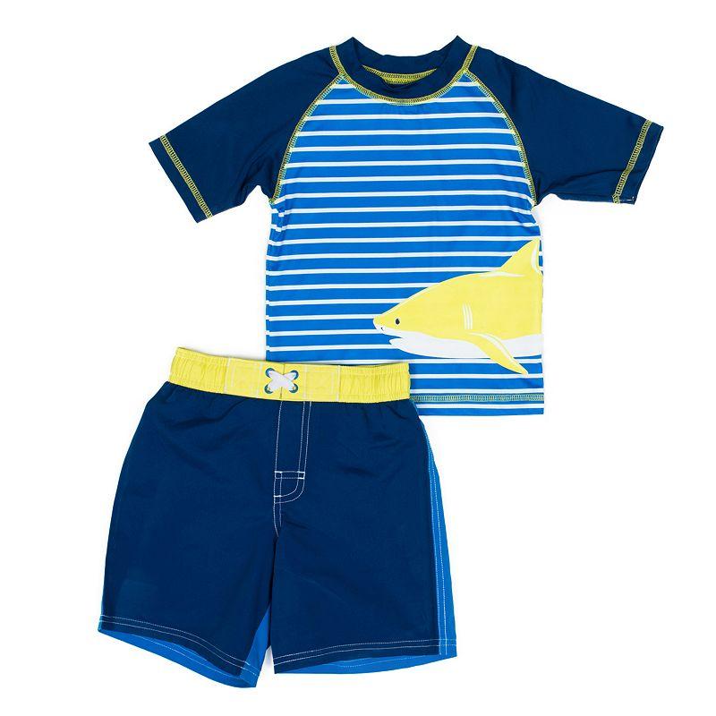 Boys 4-7 I-Extreme Striped Shark Rashguard & Swim Trunks Set