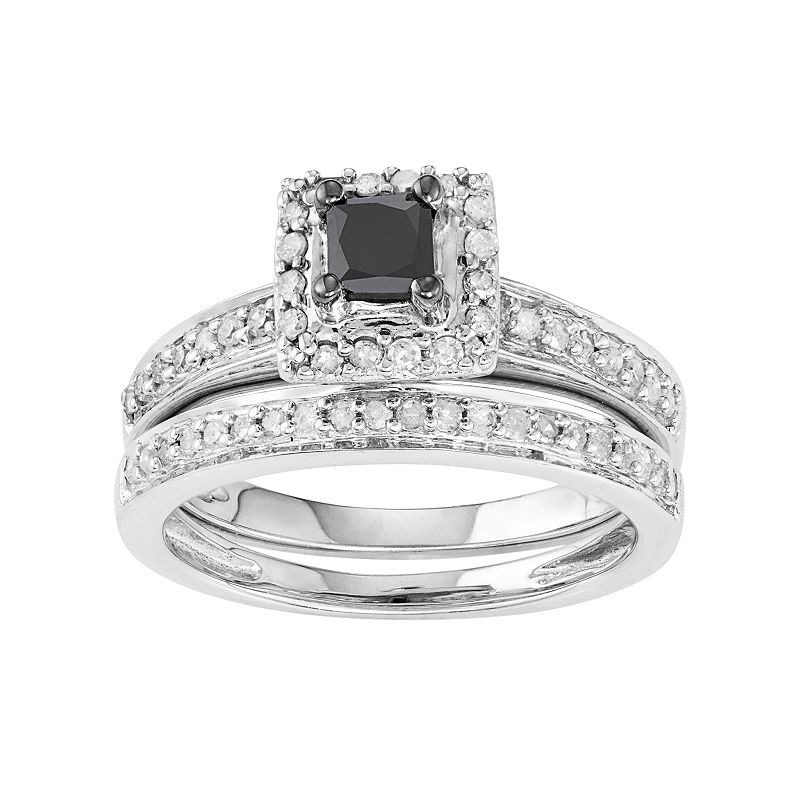 10k White Gold 1/2 Carat T.W. Black & White Diamond Engagement Ring Set