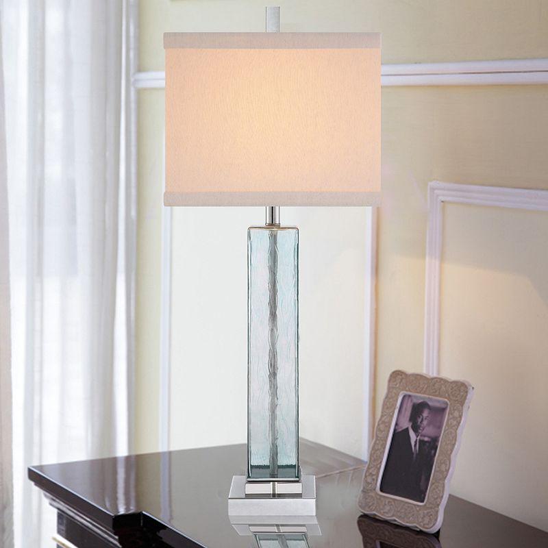Illuminada 3-Way 34'' Square Blue Water Glass Table Lamp