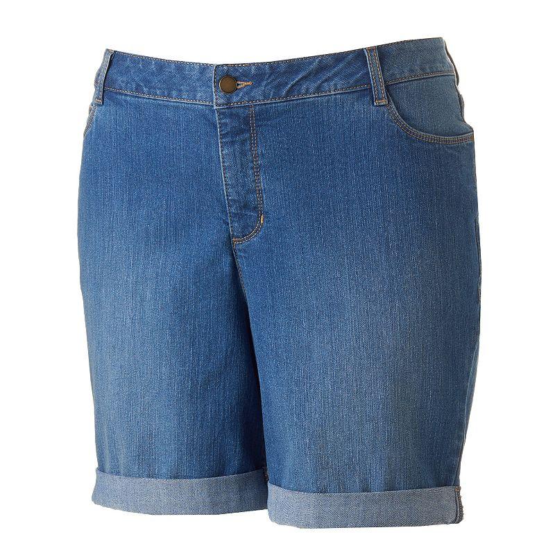 Plus Size Croft & Barrow® Cuffed Jean Shorts