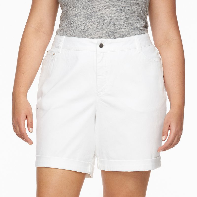Plus Size Croft & Barrow® Cuffed Jean Shorts
