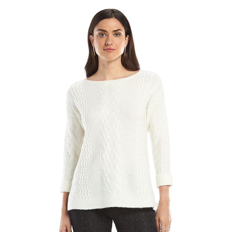 Women's ELLE™ Cable-Knit Crewneck Sweater