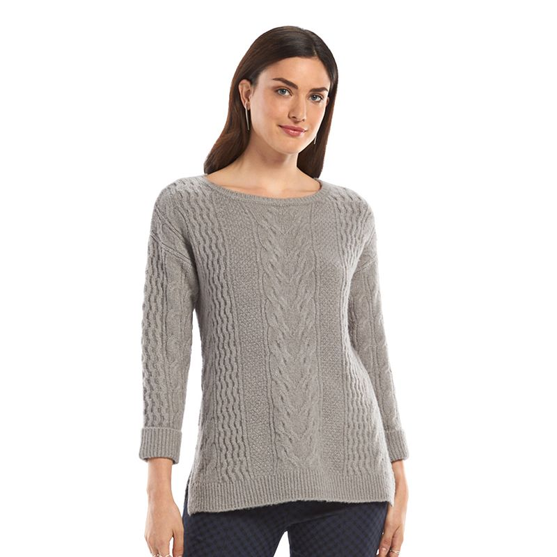 Women's ELLE™ Cable-Knit Crewneck Sweater