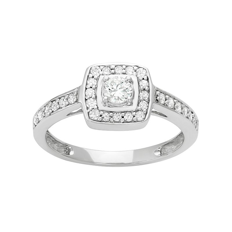14k White Gold 1/2 Carat T.W. Diamond Square Halo Engagement Ring
