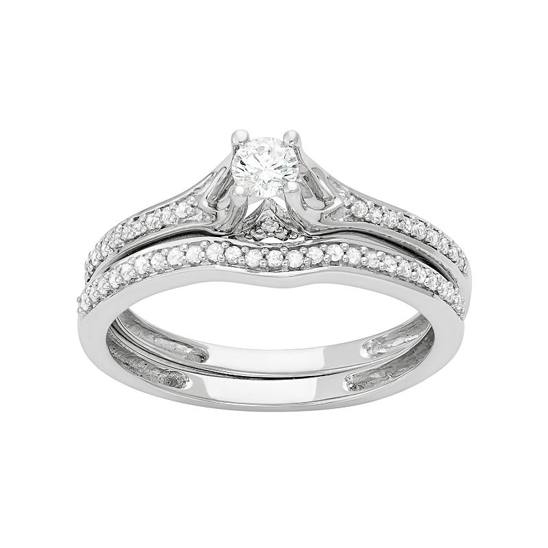 14k White Gold 1/2 Carat T.W. Diamond Engagement Ring Set
