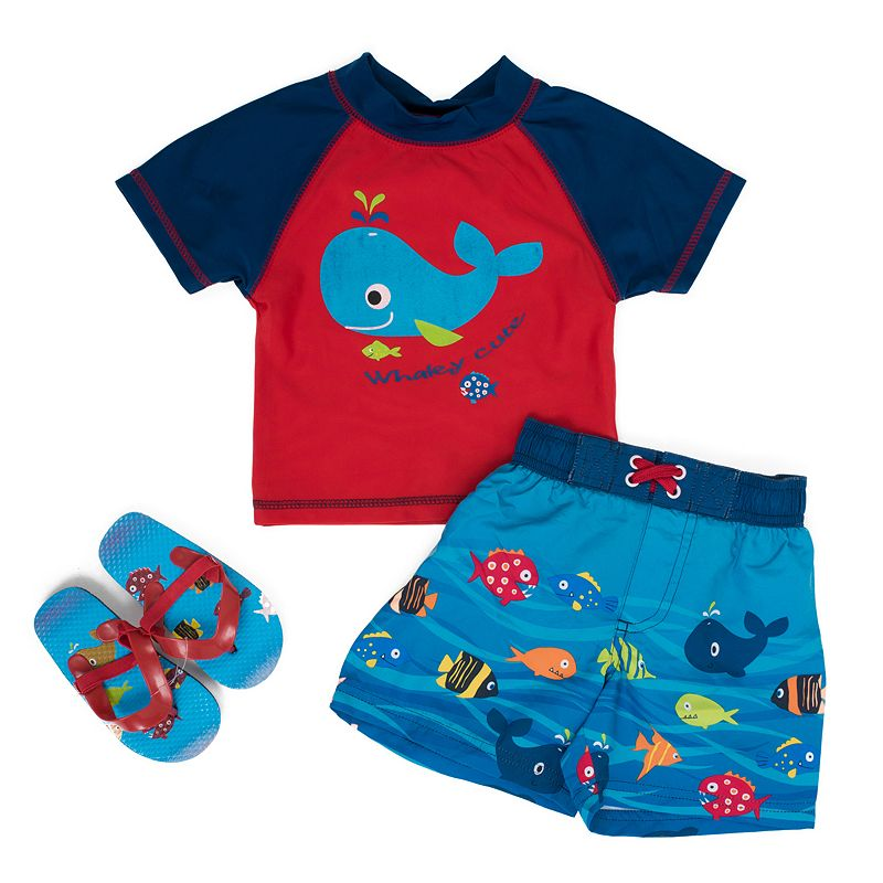 Toddler Boy Wippette Whale Rashguard & Swim Trunks Set