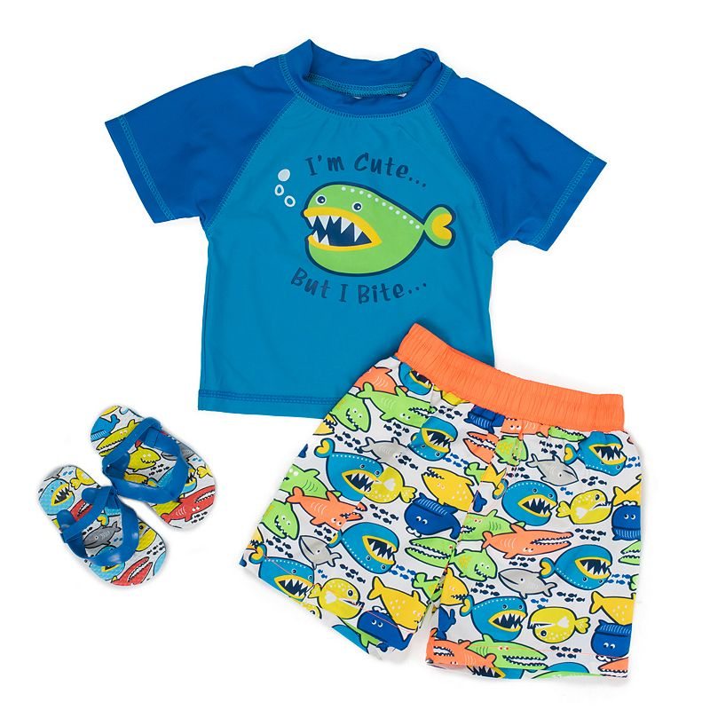 Toddler Boy Wippette Fish Rashguard & Swim Trunks Set