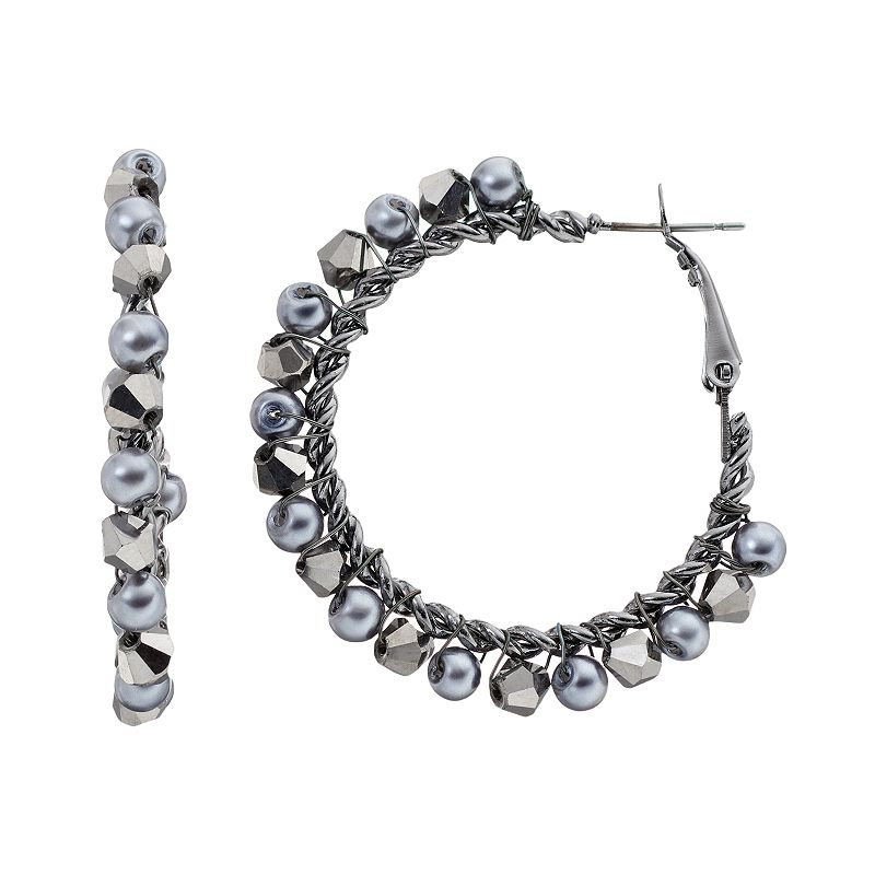 Simply Vera Vera Wang Beaded Hoop Earrings