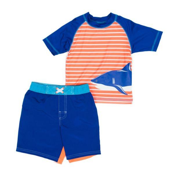 Toddler Boy Wippette Striped Shark Rashguard & Swim Trunks Set