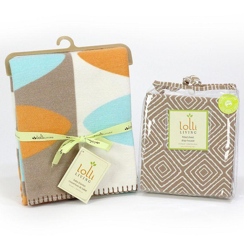 Lolli Living Leaf Plush Blanket & Fitted Crib Sheet Set