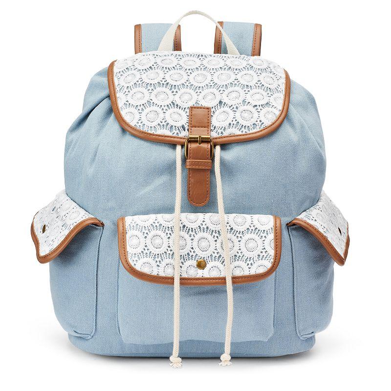 Mudd® Maya Chambray Crocheted Backpack