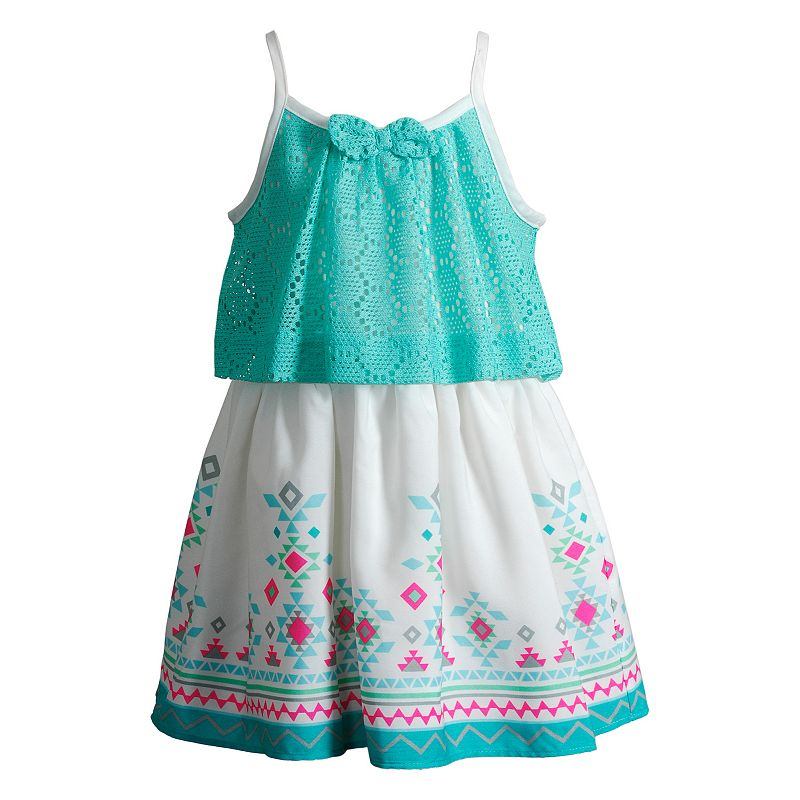 Girls 4-6x Youngland Crochet Lace Popover Dress