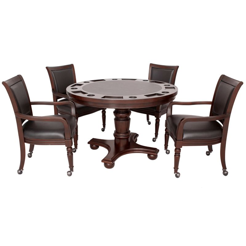 Hathaway Bridgeport 2-in-1 Walnut Finish Poker Game Table Set, Multicolor