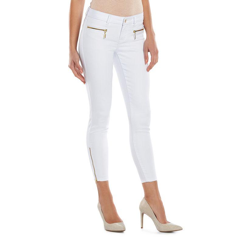 Women's Jennifer Lopez Skinny Ankle Jeans, Size: 10 SHORT, White