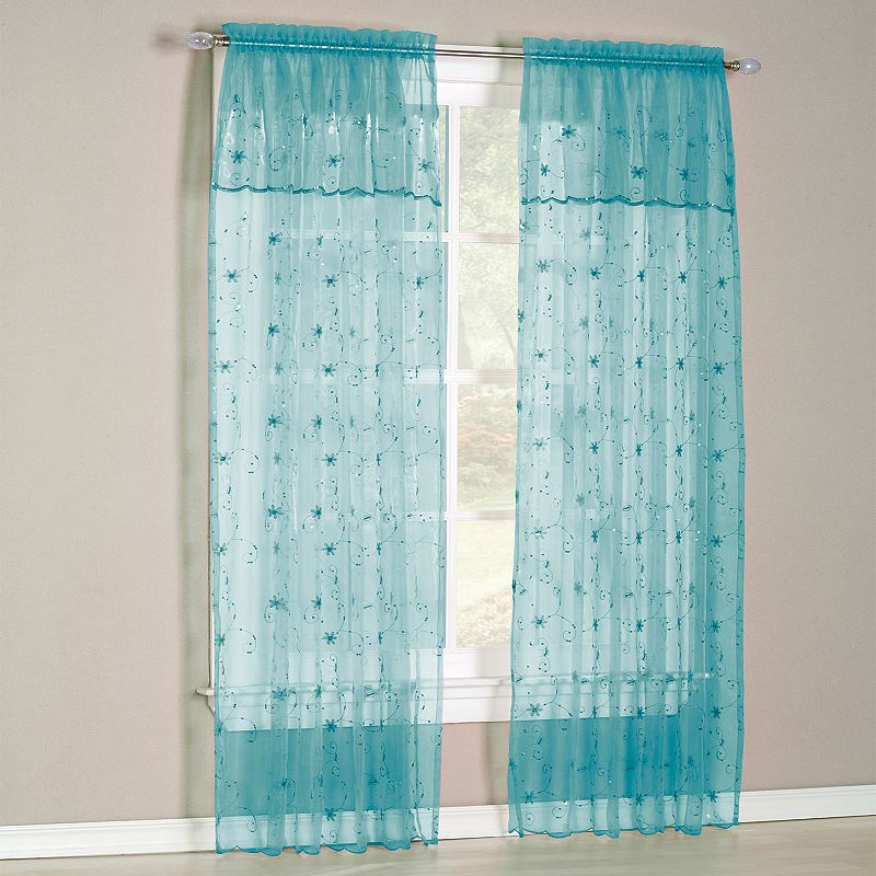 No918 Flora Sheer Voile Curtain and Valance