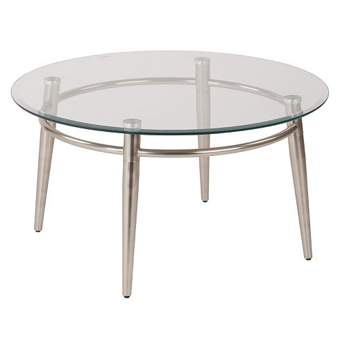 OSP Designs Round Metal Glass Coffee Table
