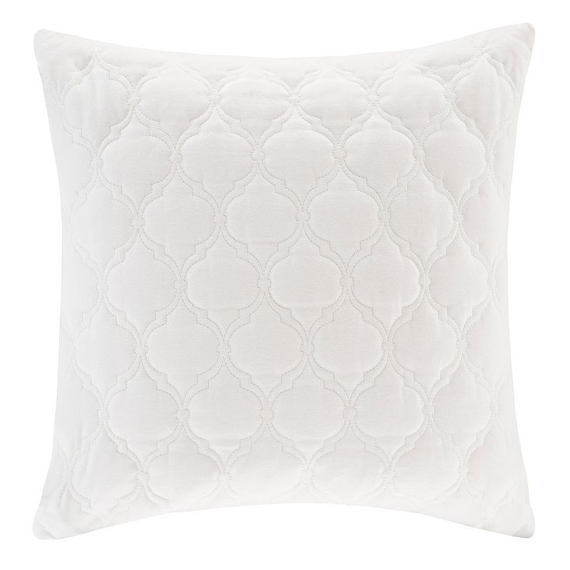 Madison Park Ogee Quilted Velvet Square Throw Pillow