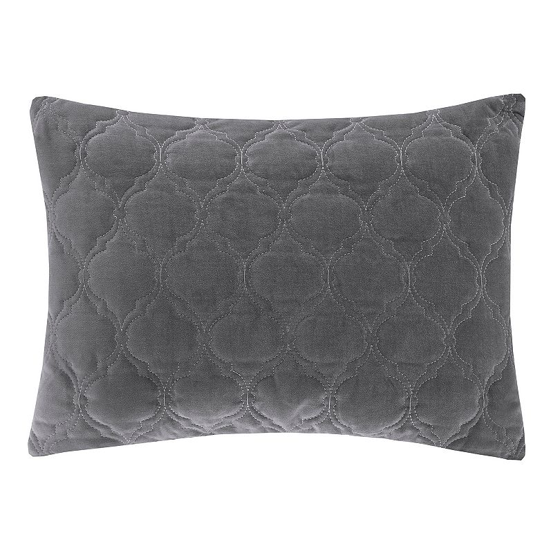 Madison Park Ogee Quilted Velvet Rectangular Throw Pillow