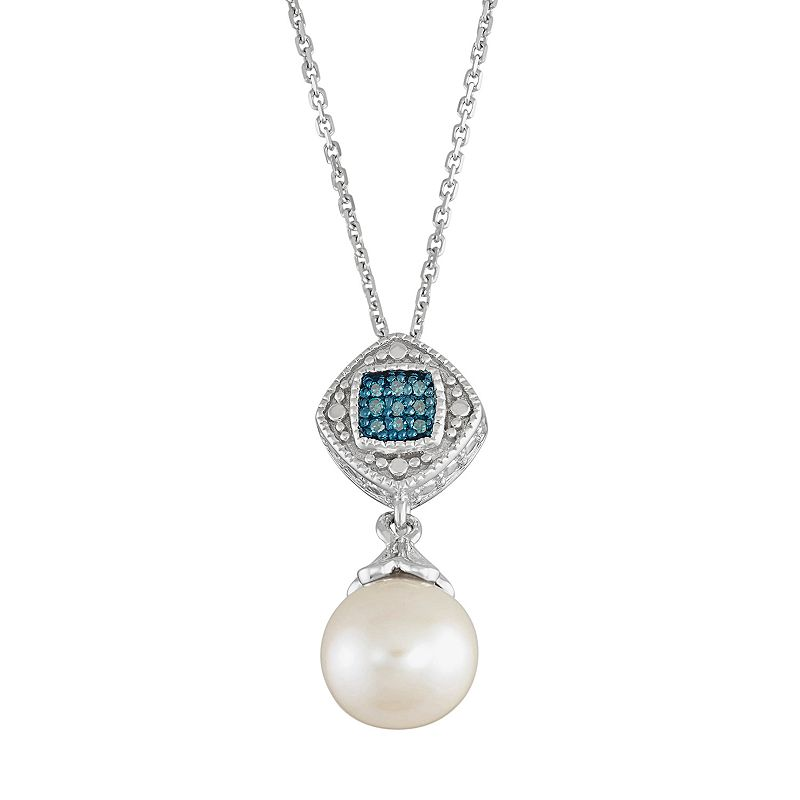 Freshwater Cultured Pearl & Blue Diamond Accent Sterling Silver Halo Pendant