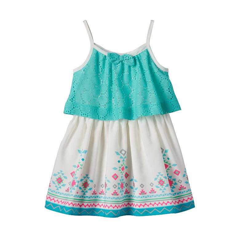 Toddler Girl Youngland Lace Popover Aztec Dress