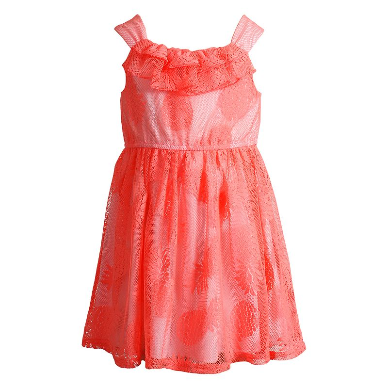 Toddler Girl Youngland Pineapple Mesh-Overlay Dress
