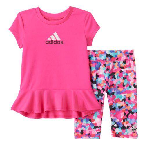 Toddler Girl adidas Ruffle Hem Tee & Capri Leggings Set