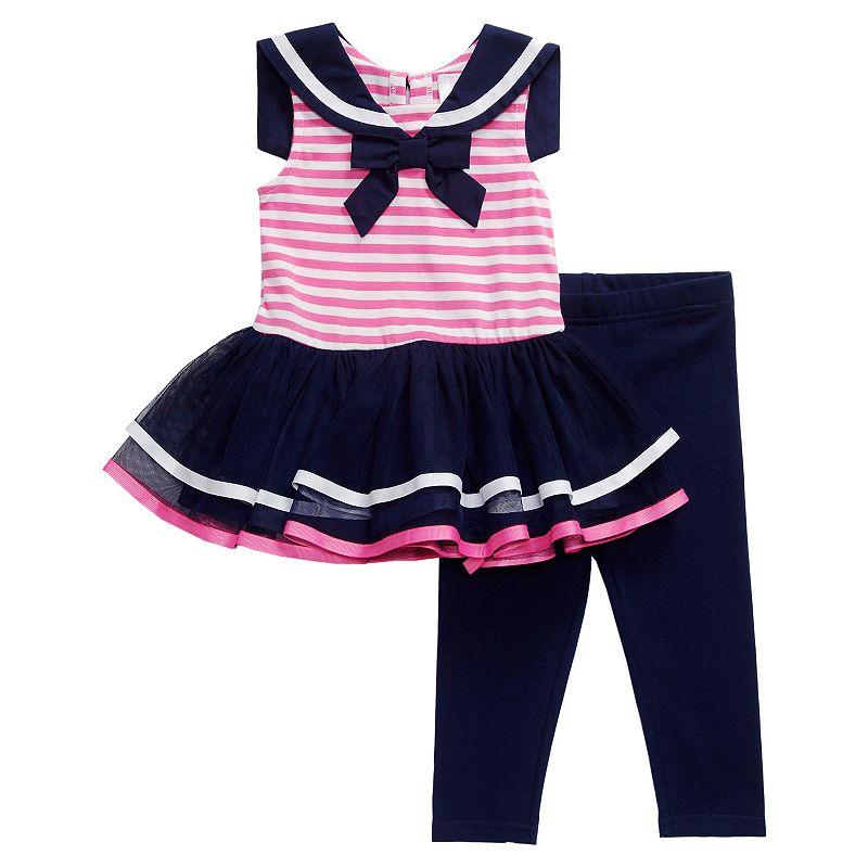 Girls 4-6x Youngland Striped Sailor TuTu Dress & Leggings Set