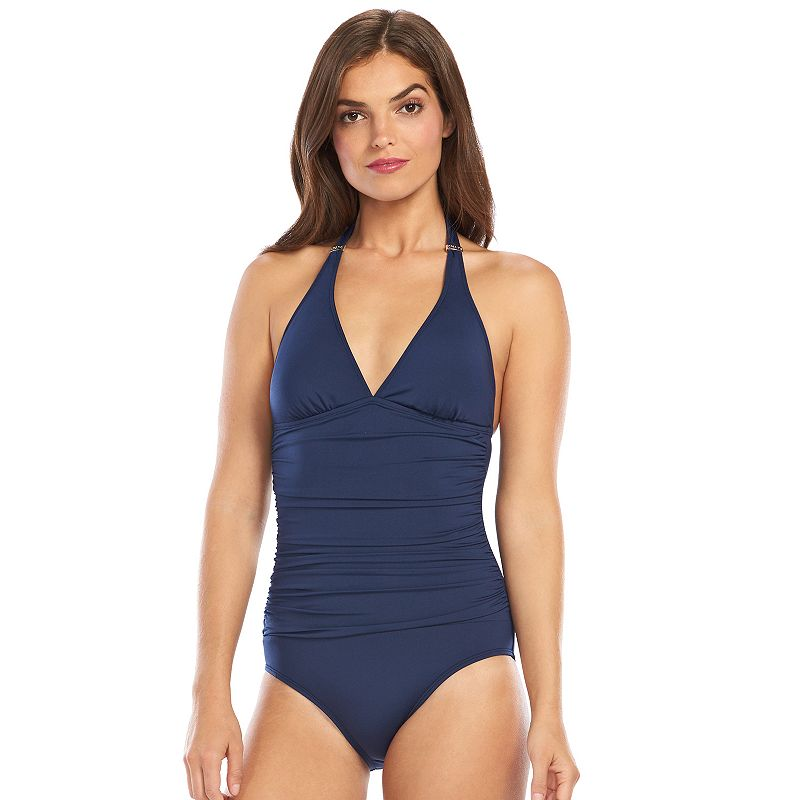 Women's Chaps Ruched One-Piece Swimsuit