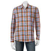 Men's Michael Brandon Southern Vintage Orange Plaid Button-Down Shirt