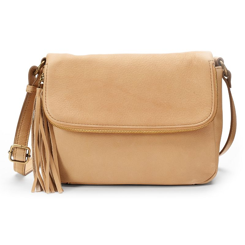 Leather Fold-Over Fringed Crossbody Bag