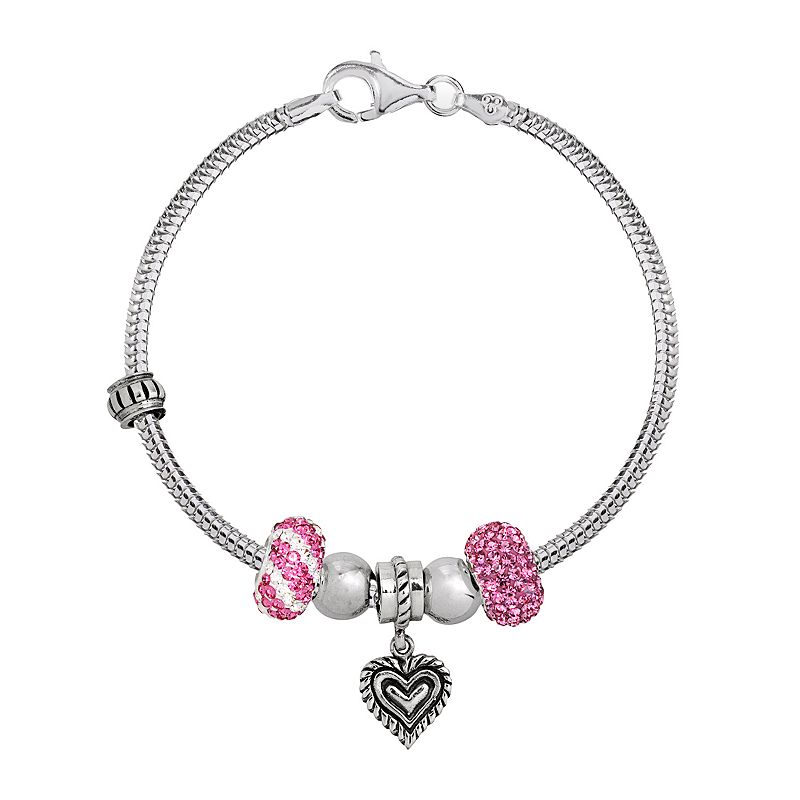 Individuality Beads Crystal Sterling Silver Snake Chain Bracelet, Bead & Heart Charm Set